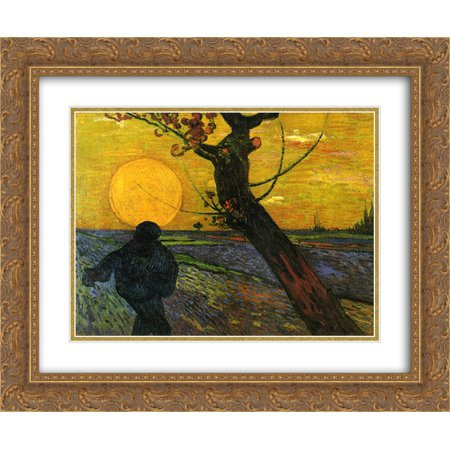 Vincent van Gogh 2x Matted 24x20 Gold Ornate Framed Art Print 'Sower with Setting Sun (The Sower With Setting Sun Van Gogh)