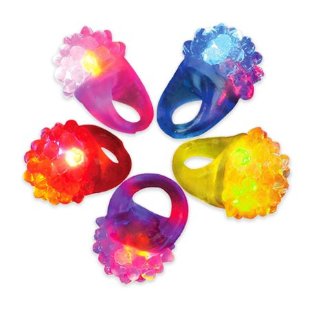 Novelty Place Party Stars Flashing LED Bumpy Jelly Ring Light-Up Toys (12 Pack) ()