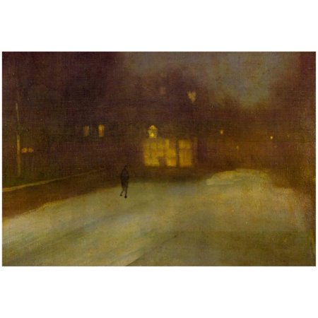 James Whistler Nocturne Grey and Gold Snow in Chelsea Art Print Poster Chelsea Gold Music Box