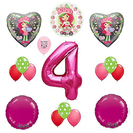 Strawberry Shortcake Party Supplies 4th Birthday Party Balloon Decoration Kit (Strawberry Shortcake Birthday Supplies)