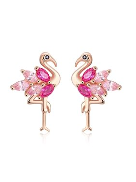 Pink Flamingo Bird Stud Earrings Cz Rose Gold Over Sterling Silver