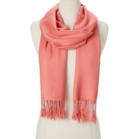 Rose Cloud Solid Scarfs for Women Fashion Warm Neck Womens Winter Scarves Casual Pashmina Silk Blend Scarf Wrap with Fringes for Ladies Girls by Oussum Winter Scarf Wrap