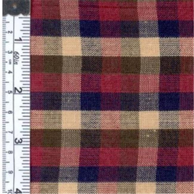 Textile Creations 976 Rustic Woven Fabric, 0.25 Check Navy, Wine And Olive, 15 yd.