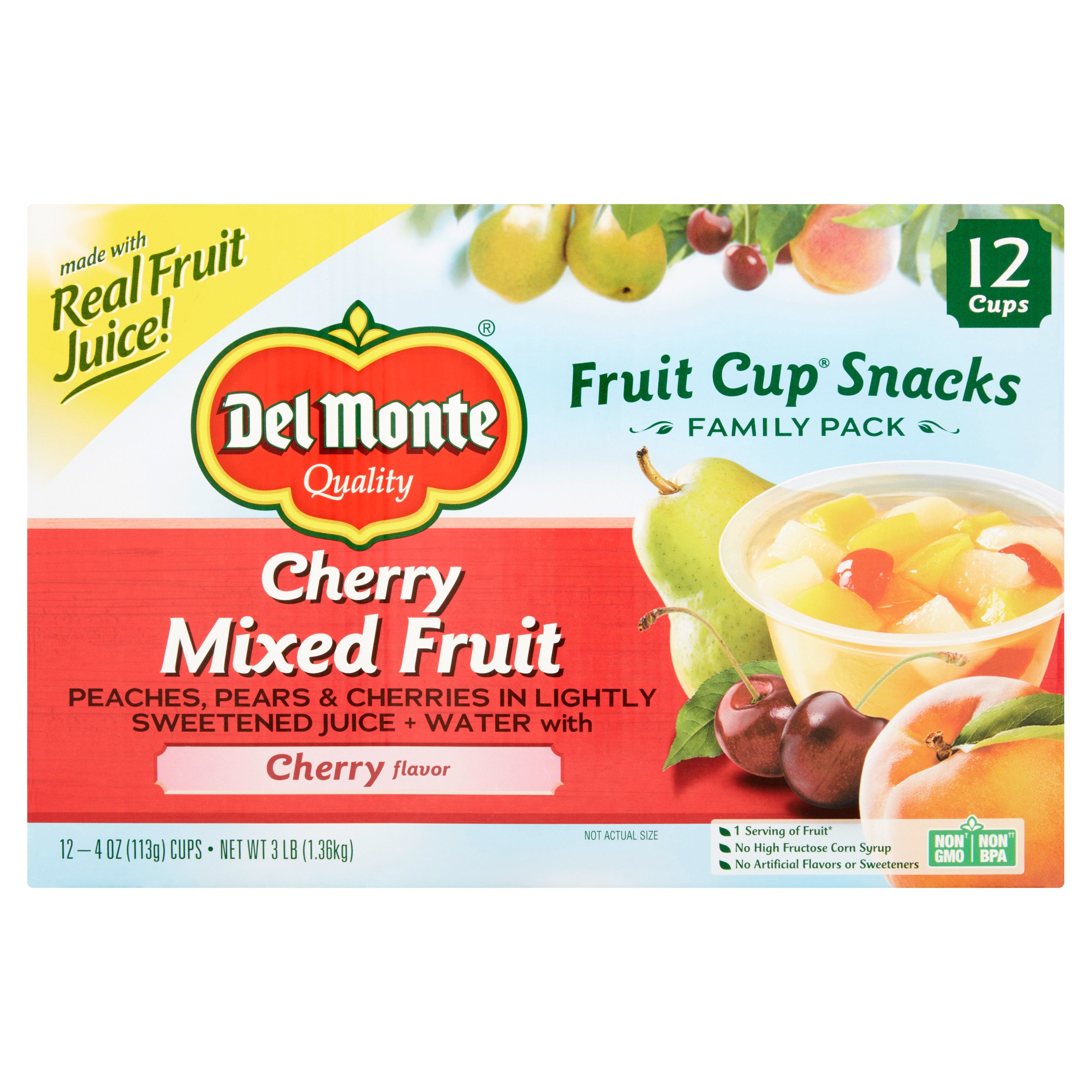 Del Monte Cherry Mixed Fruit Fruit Cup Snacks, 4 oz, 12 count by Del Monte Foods