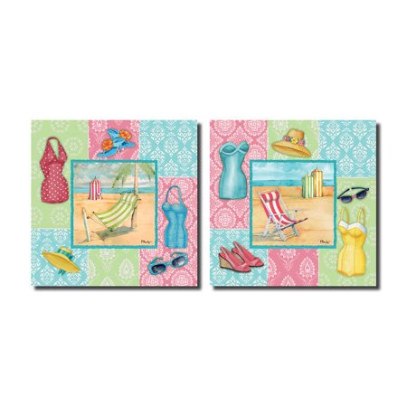 Beach Wear I Vintage 50s Style Bathing Suits and Fun Accessories; Beach Decor; Two 12x12 Poster Prints](50s Decor)