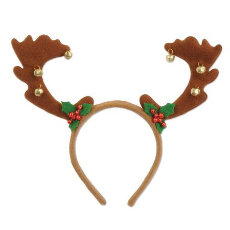 Pack of 12 Reindeer Antler with Bells Christmas Bopper Headbands Costume Accessories](Kids Reindeer Antlers)