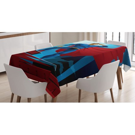 Superhero Tablecloth, Retro Cartoon Character Hero Saving People from Evil Strong Muscular Man with Cape, Rectangular Table Cover for Dining Room Kitchen, 52 X 70 Inches, Blue Red, by Ambesonne