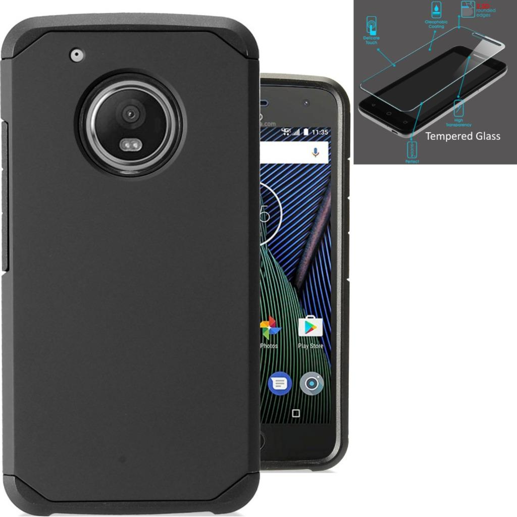 For Motorola Moto E4 Case / Moto E 4 XT1767 Case + Tempered Glass Slim Dual Layer Armor Hybrid TPU Phone Cover (Black/Black)