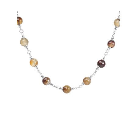 Natural Mixed Amber Agate Strand Stainless Steel Necklace - 17