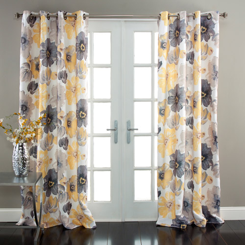 Leah Window Curtains Yellow Grey Set Walmart Com