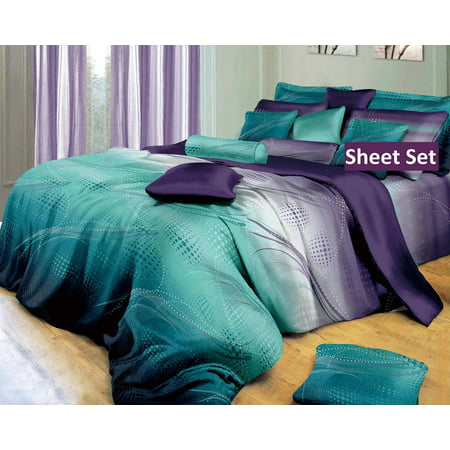 Swanson Beddings Twilight-P Sheet Set : Fitted Sheet, Flat Sheet and Two Matching Pillowcases (Queen) ()