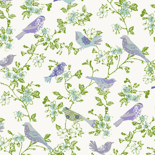 Waverly Inspirations BIRDS LILAC 100% Cotton Print Fabric 44'' Wide, 140 Gsm, Quilt Crafts Cut By The Yard