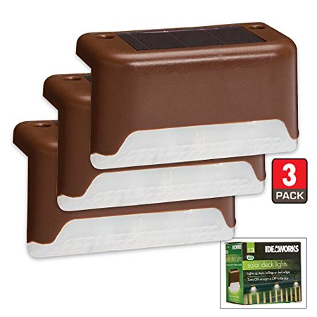 Ideaworks SET OF 3 SOLAR DECK LIGHTS Brown