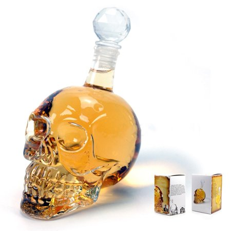 Halloween Party Drinking Glasses (Conpik 3D Glass Skull Bottle Crystal Skull Bottle 125 350 550ML Shot Glass Drink Cocktail Beer Wine Cup Halloween)