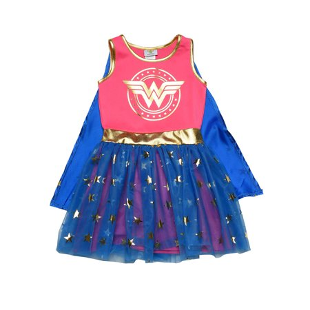 Girls Wonder Woman Costume Dress Cape Pink Gold Blue Cosplay - Comic Cosplay