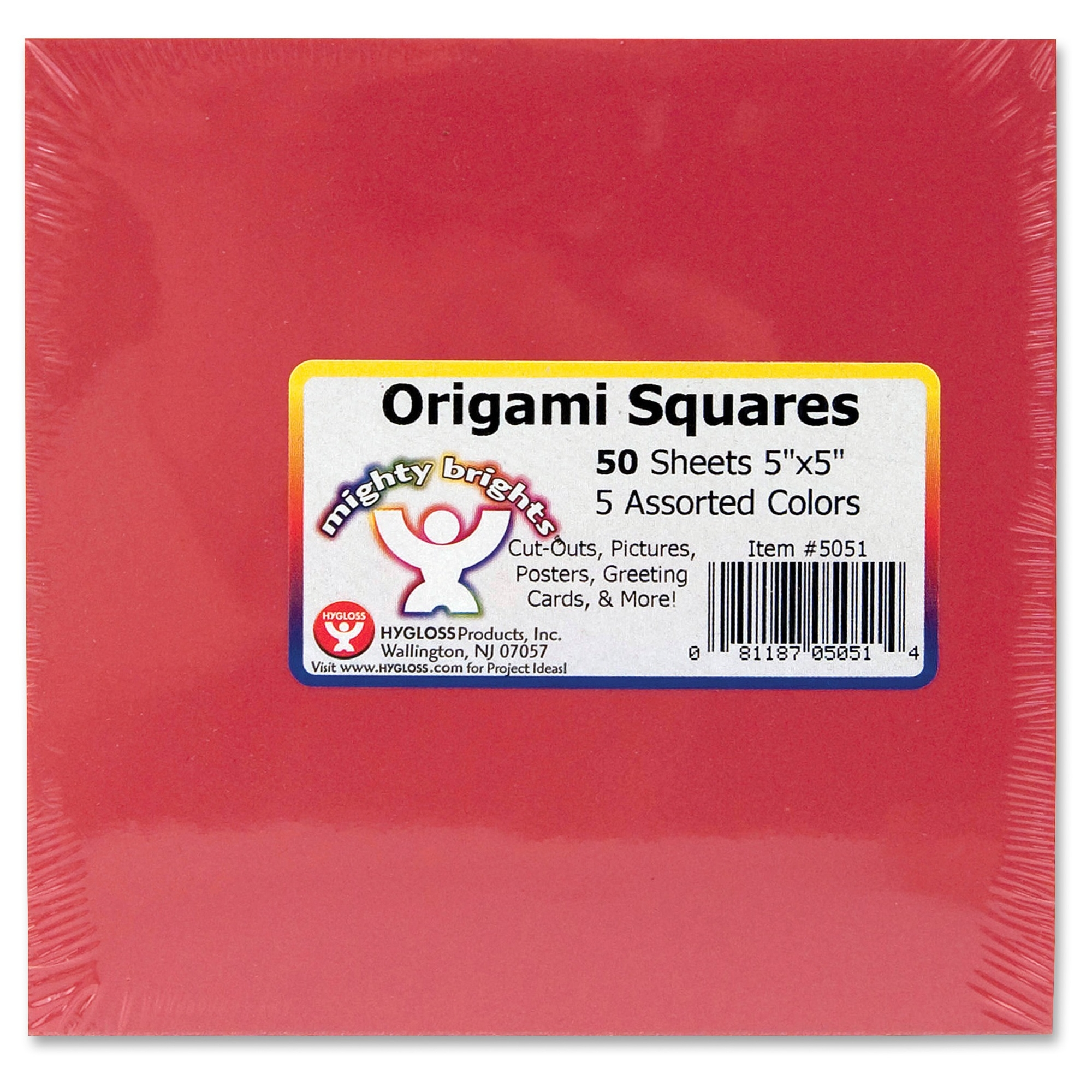 "Hygloss Mighty Brights Origami Squares 50 Piece[s] 5"" X 5"" 1 Pack Assorted (hyx-5051) by Hygloss Products"