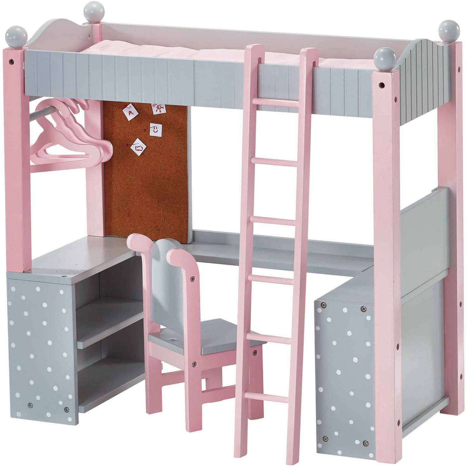 "Olivia's Little World - Polka Dots Princess 18"" Doll College Dorm Double Bunk Desk - Grey"