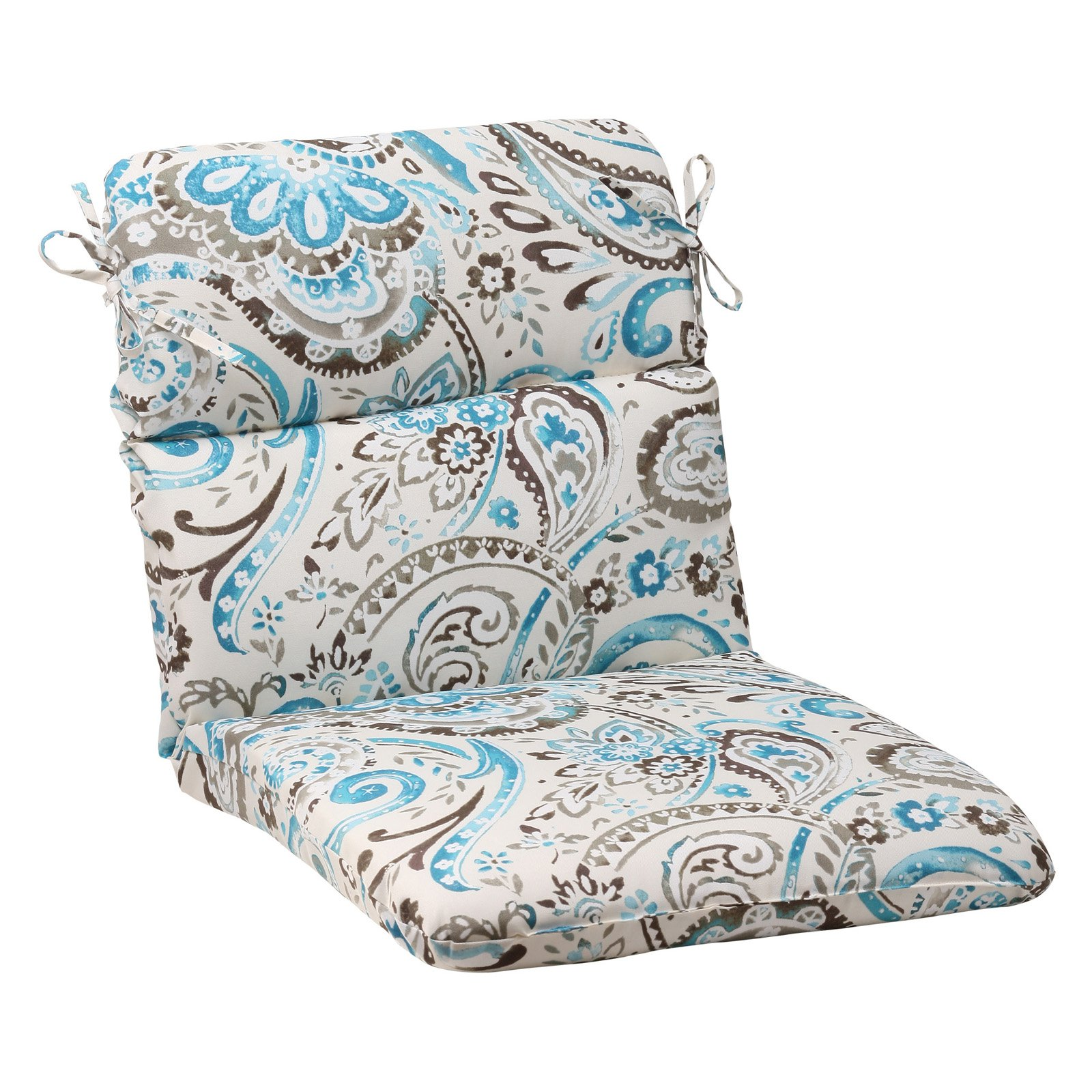 Pillow Perfect Outdoor/ Indoor Vermilya Tidepool Rounded Corners Chair Cushion