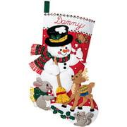 "Bucilla Felt Stocking Applique Kit 18"" Long-Snowman & Friends"