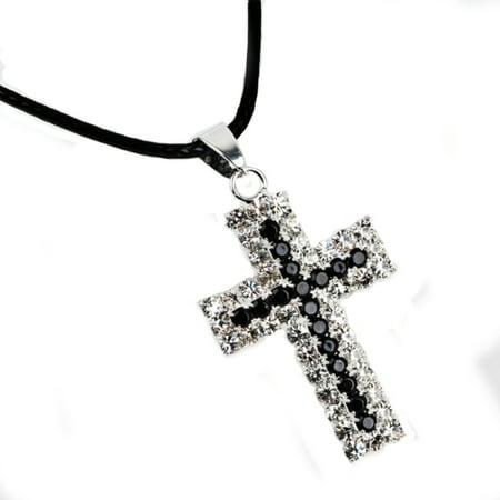 Cross Jewelry Black and SilverTone Crystal Rhinestone Anti-Tarnish Necklace, -
