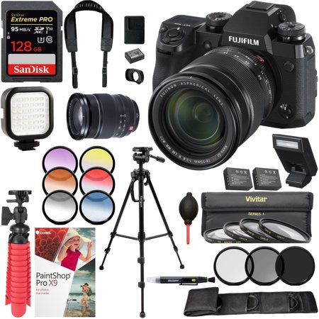 Low Light Camera Set - Fujifilm X-H1 Mirrorless Digital Camera and XF16-55mm F2.8 R LM WR Lens with Targus Tripod SanDisk 128GB SDXC Memory Card Rechargeable LED Light Filter Set Extra Batteries Cleaning Kit Bundle