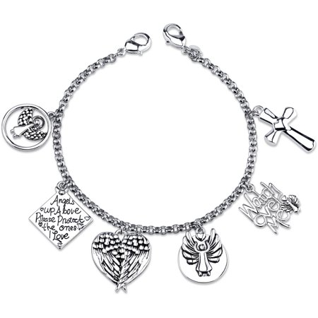Stainless Steel Watch Over Me Angel Charm Link Bracelet, 7.5""