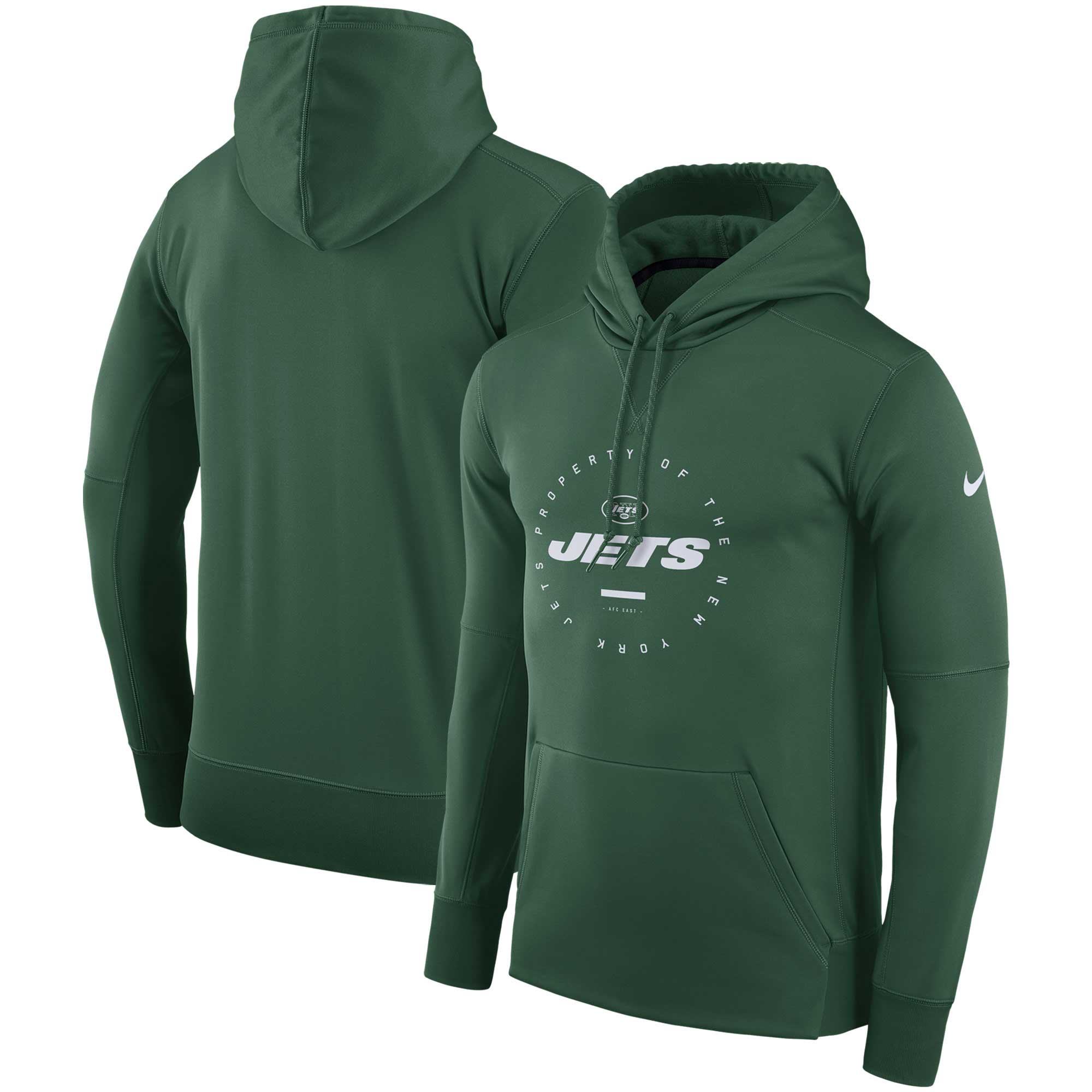 New York Jets Nike Sideline Property Of Wordmark Logo Performance Pullover Hoodie - Green