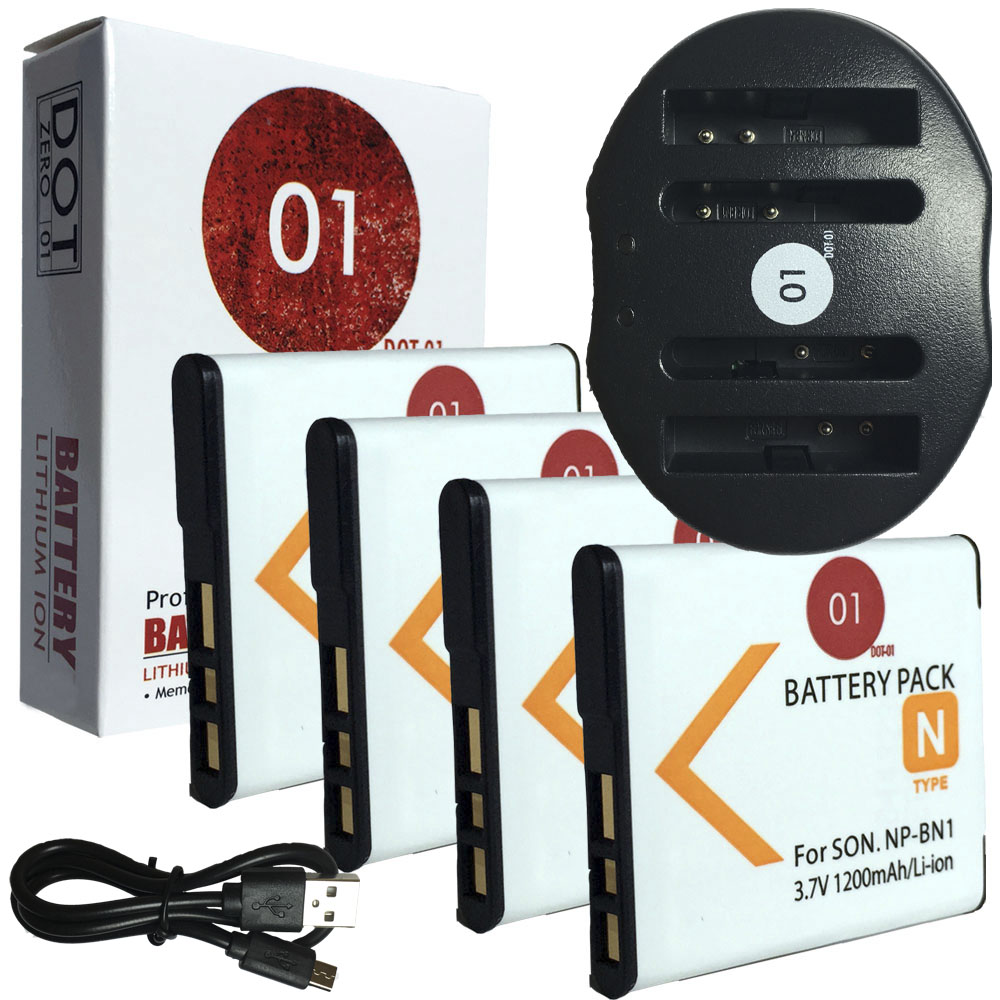 4x DOT-01 Brand 1200 mAh Replacement Sony NP-BN1 Batteries and Dual Slot USB Charger for Sony DSC-WX5 Digital Camera and Sony BN1