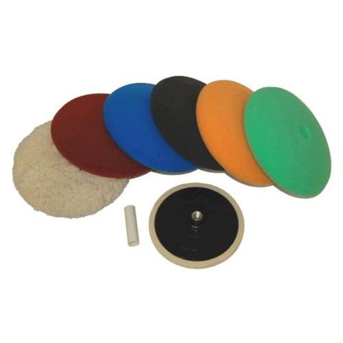 """Waffle Foam /& Wool Buffing /& Polishing Pad Kit w// 3-8/"""" Pads Grip Backing Plate"""