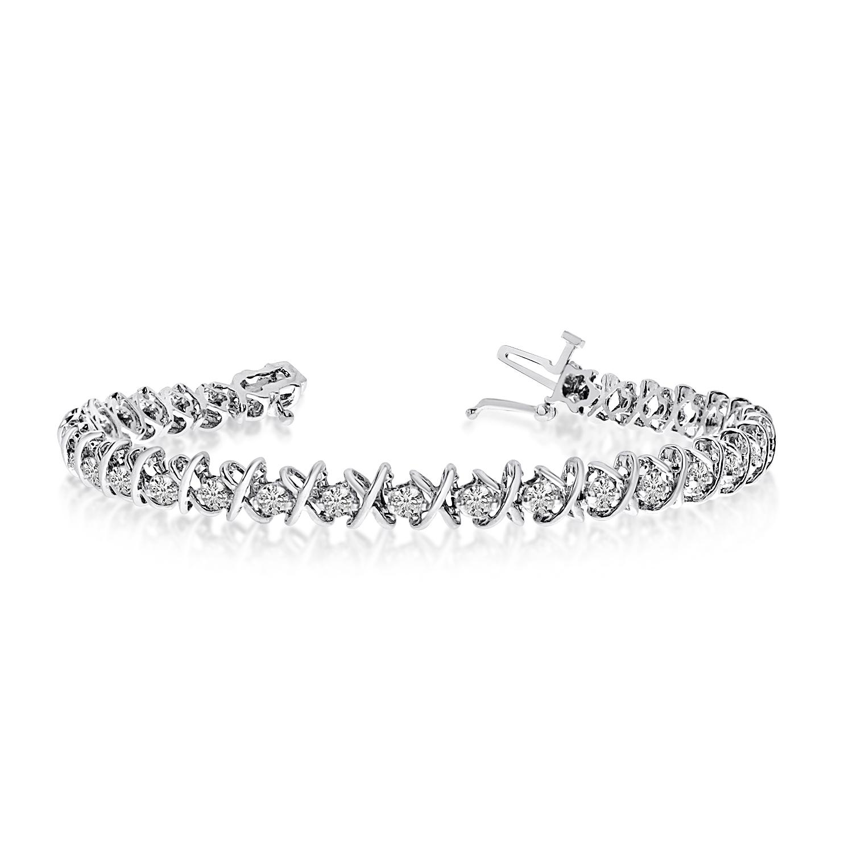 14K White Gold XO 4.00ctw Round Diamond Bracelet by
