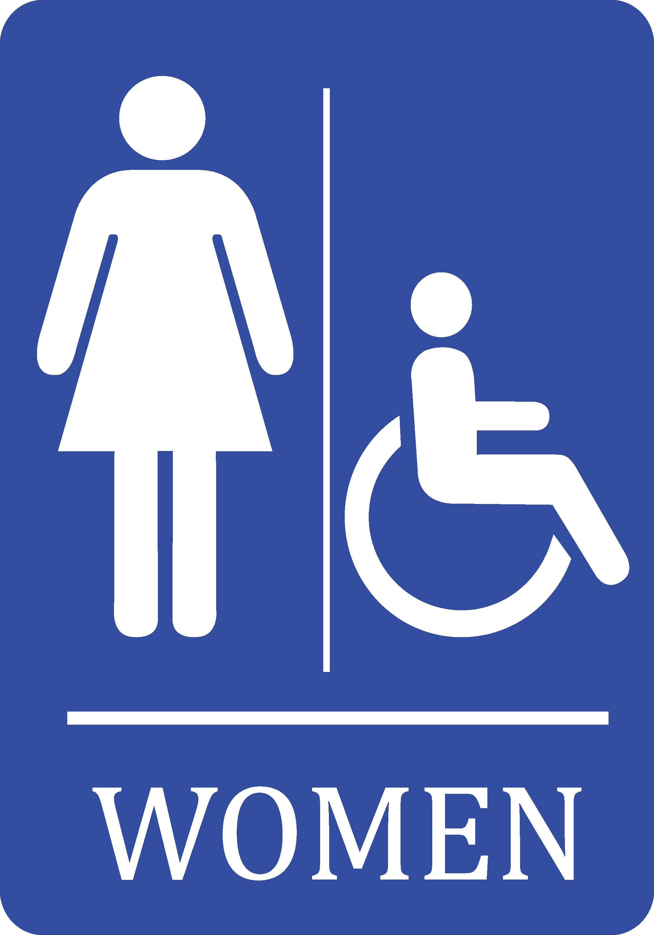Women Handicap Accessible Bathroom Blue Sign   Woman Restroom Signs    Aluminum Metal, 12x18
