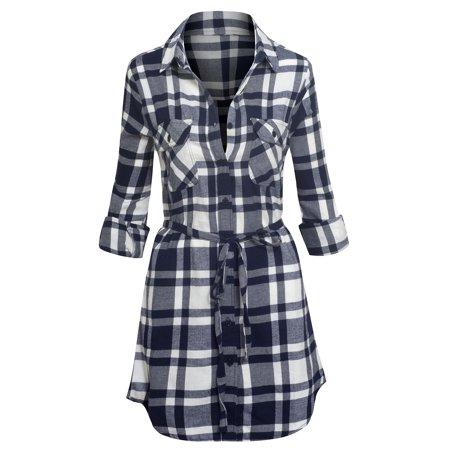 Women 39 s long sleeve button down plaid flannel belted tunic for Women s plaid button down shirts