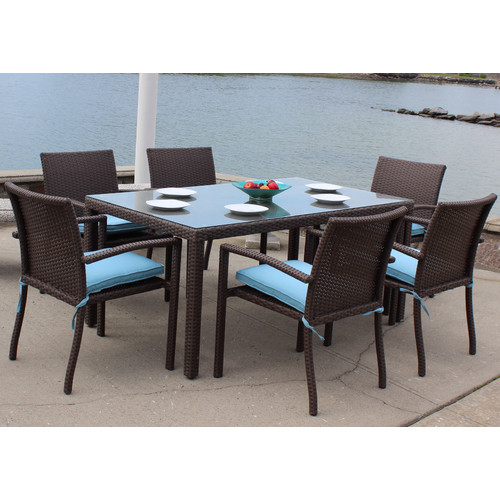 ElanaMar Designs Sonoma Outdoor Wicker 7 Piece Dining Set with Cushions