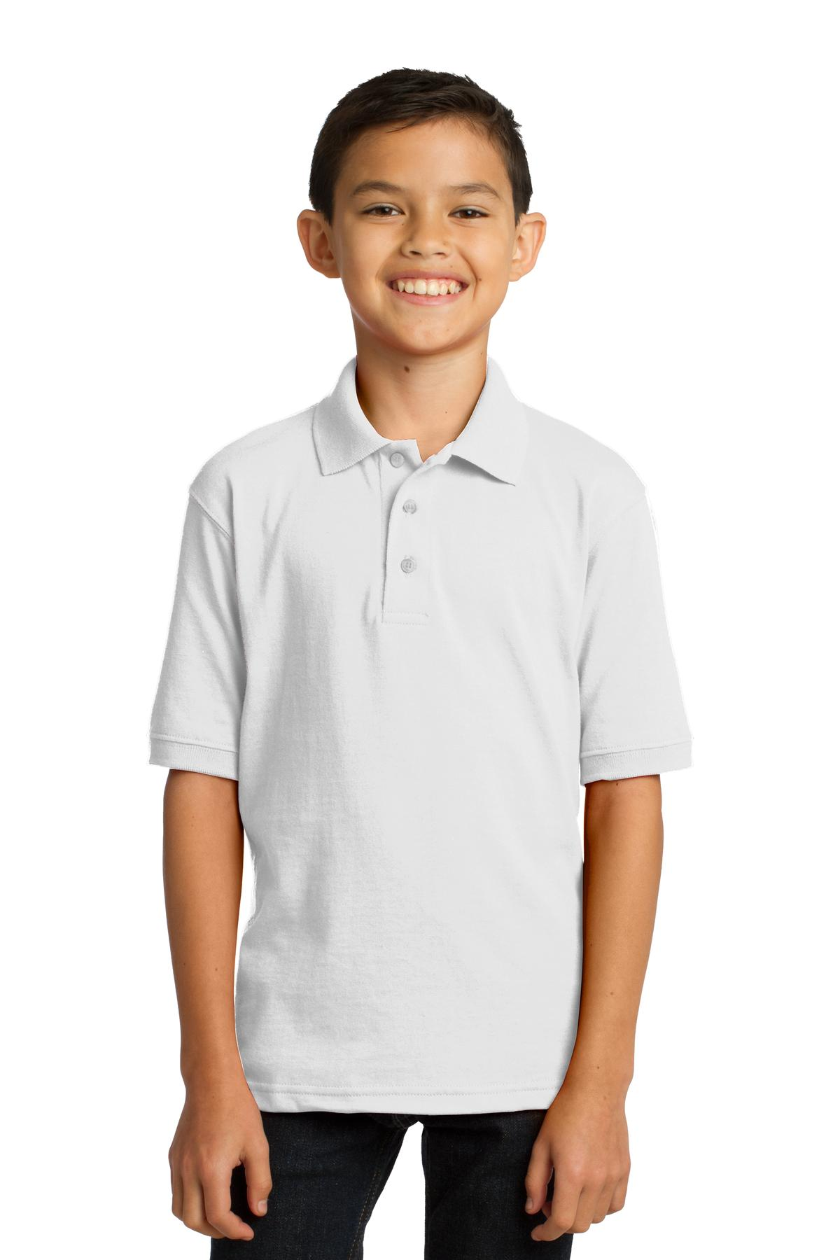 Port /& Company Boys Youth Jersey 3 Button Knit Polo Shirt XS-4XL KP55Y