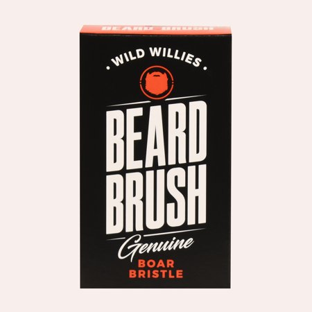 Wild Willies Beard Brush For Men. With Natural Boar Bristles for Professional Beard and Mustache Grooming. Beautifully Engraved Small Travel Size & Ergonomically Designed Holder. No More Hair