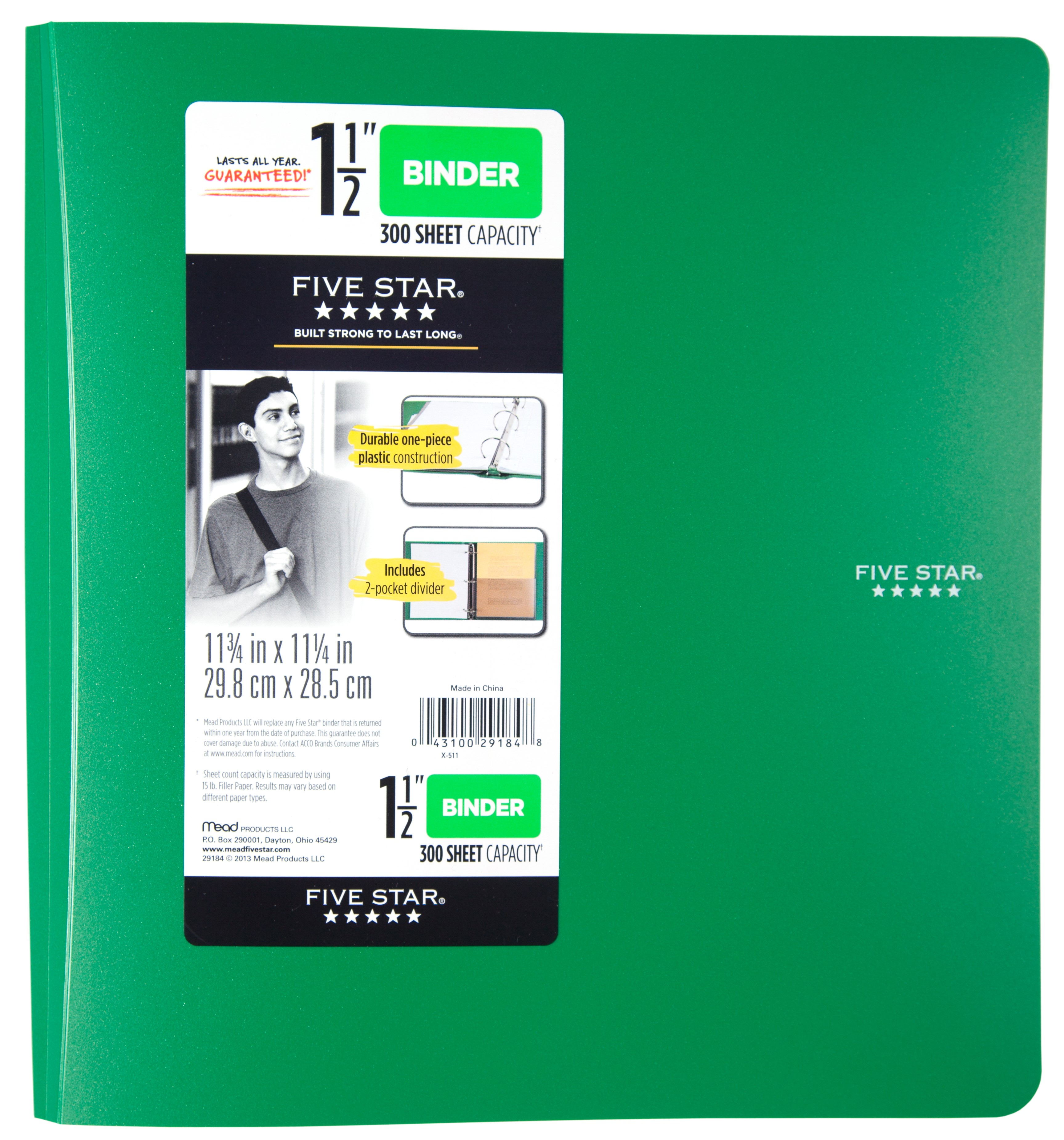 Five Star 1.5 Inch Poly Binder, Green, 1 Count