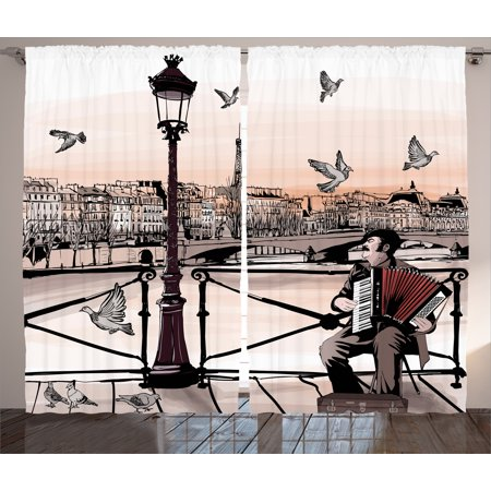 (Curtains 2 Panels Set, Accordionist Playing Paris Street Urban European Famous Town City Panorama Graphic Scene, Living Room Bedroom Decor, Peach Brown, by Ambesonne)