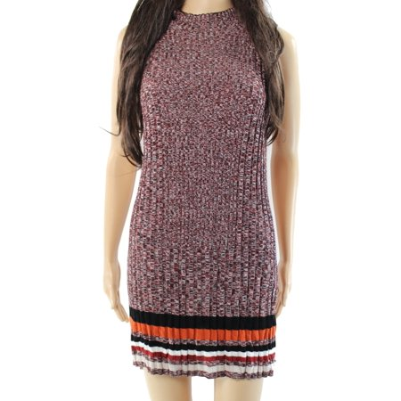 INC NEW Red Womens Size Large L Mock Neck Ribbed Tunic Sweater Dress