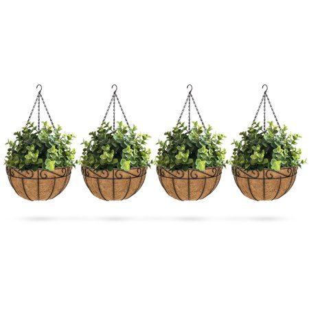 - Best Choice Products Set of 4 Decorative Metal Hanging Planters w/ Coconut Liner, Hook