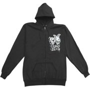 Bunny The Bear Men's I'm Scared Now Zippered Hooded Sweatshirt Large Black