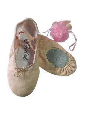 Fedol Girl's Canvas Split-sole Ballet Slippers, Ballet Shoes. Free Gift Bag