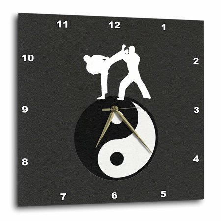 3dRose Karate Yin-yang Sign with Men Training, Black and White, Wall Clock, 13 by (Sign Wall Clock)