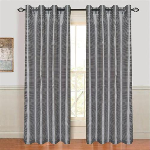 Set of 2 Lavish Home Maggie Grommet Curtain Panel - Grey