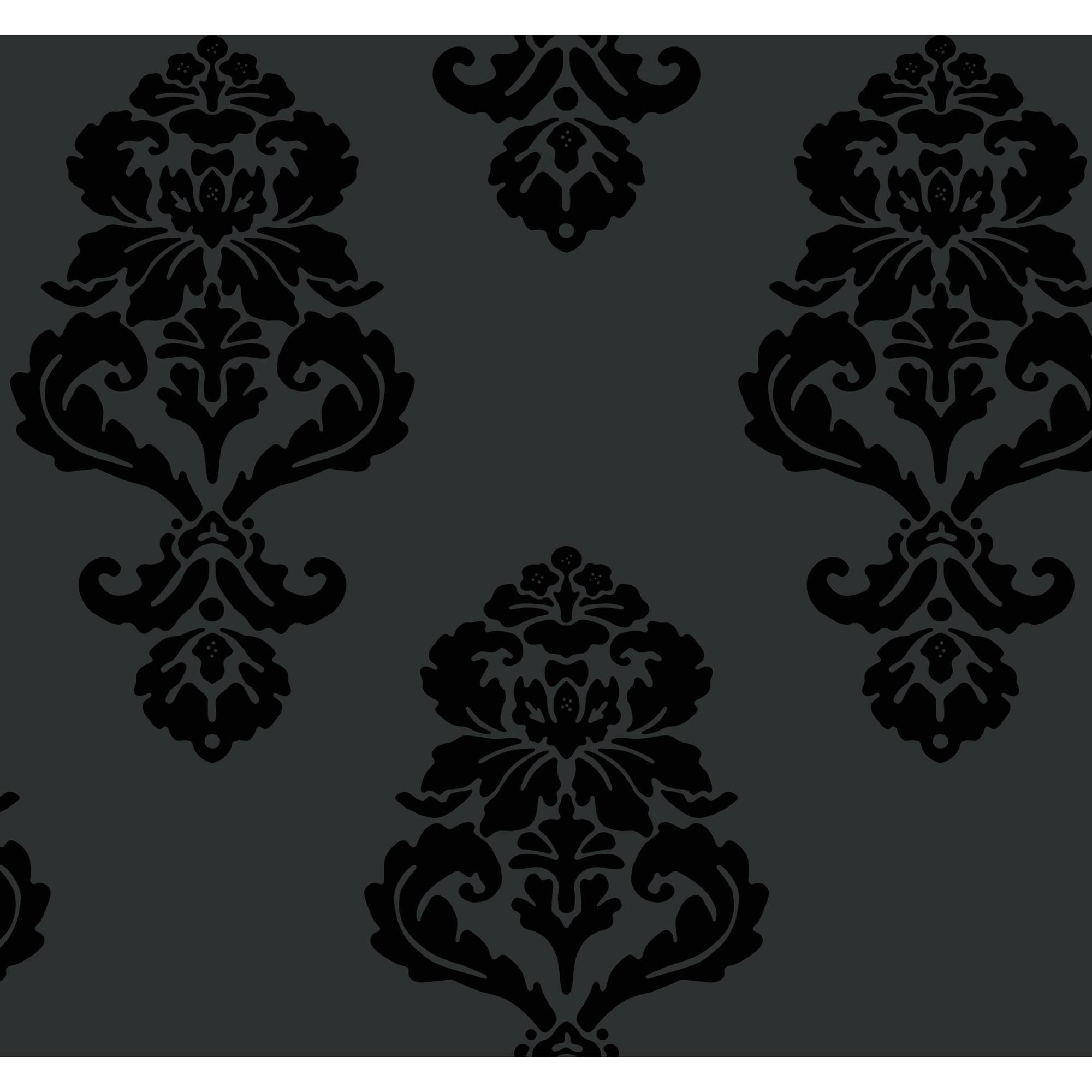 Black & White Graphic Damask Wallpaper