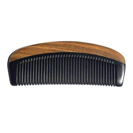 KABOER Men Fashion Beard Comb - 100% Natural Black Ox Buffalo Horn and Sandalwood Handle