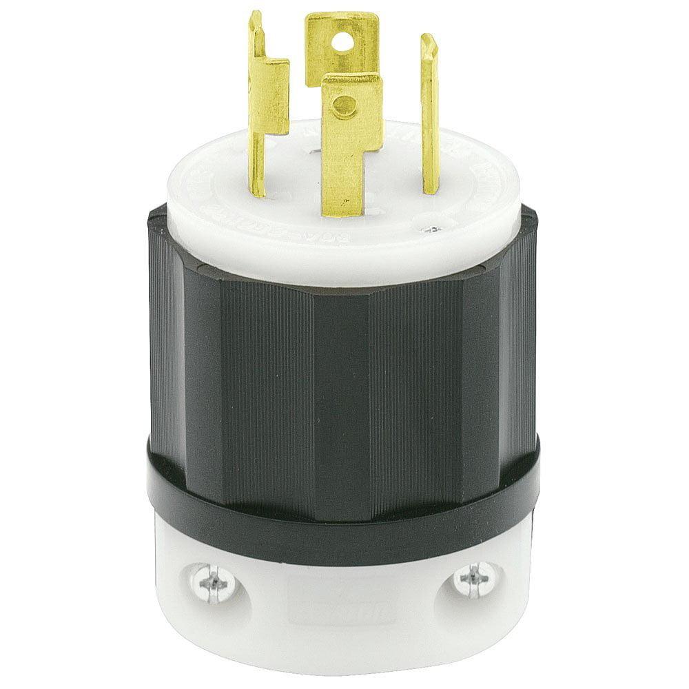 2721 30 Amp 250 Volt 3 Phase Nema L15 30p 3p 4w Locking Plug L6 30r Wiring Diagram Industrial Grade Grounding Black White By Leviton