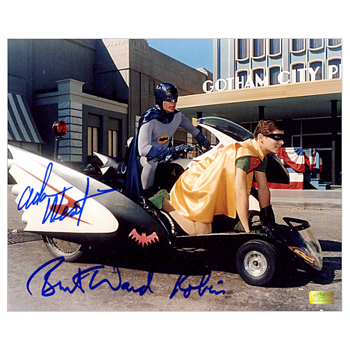 Adam West and Burt Ward Autographed 8?10 Batcycle Photo