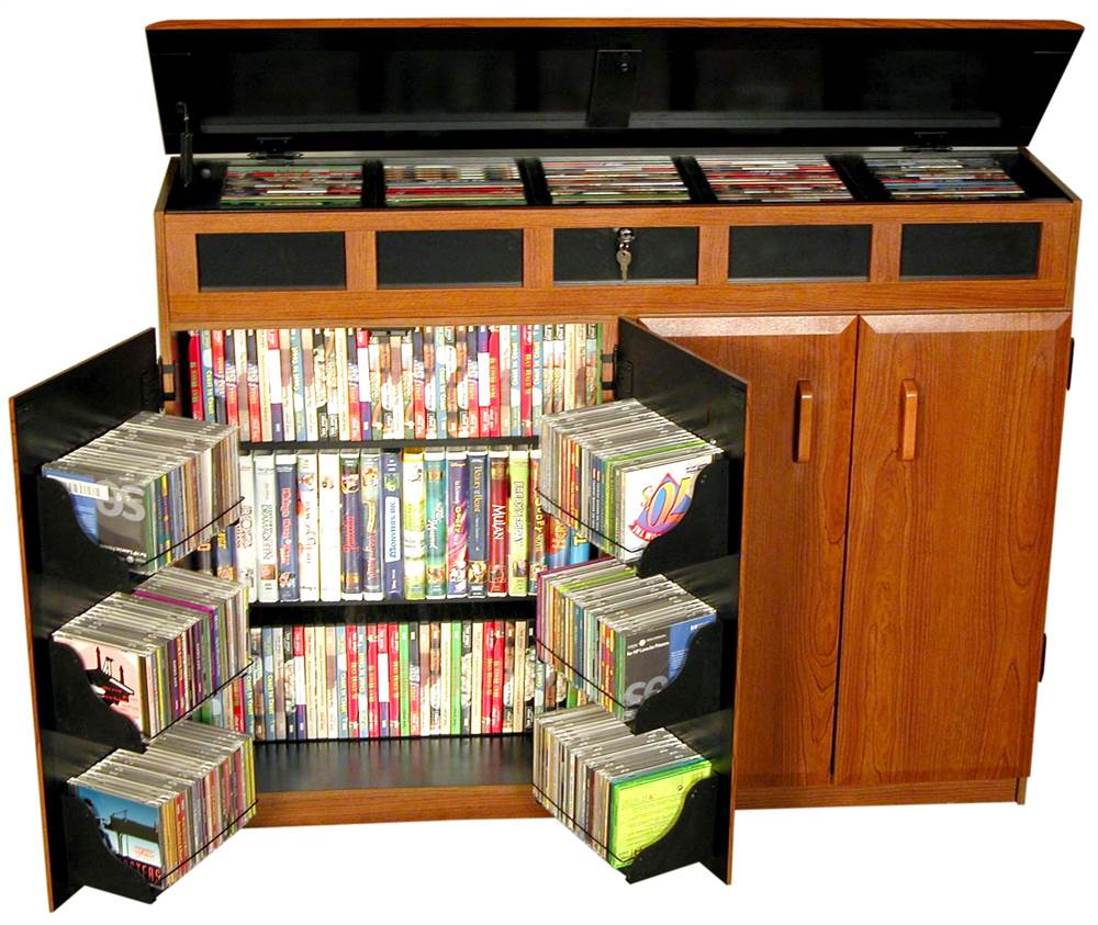 4 Door Locking Media Cabinet w Top-Loading Section by Venture Horizon
