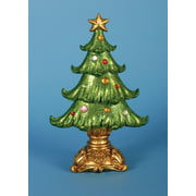 """Set of 2 Green and Gold Ornate Glittered Christmas Tree Tabletop Decoration 12"""""""