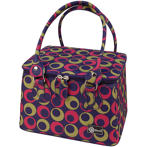 "Creative Options Crafter's Tapered Tote 9.25""X7.25""X6""-Black/Magenta/White W/Dots"